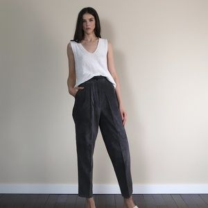 Vintage 90s suede high waisted pleated  pants.